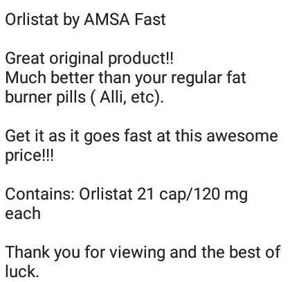 Orlistat 120mg- Weight Loss AMSA FAST-Fat Burner- Diet Supplement
