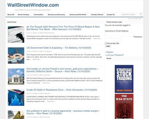 WallStreetWindow.com – Stock Market Financial and Global Geopolitical News